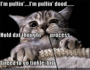I'm pullin'....I'm pullin' dood...... Hold dat thought        process I need to go tinkle..brb