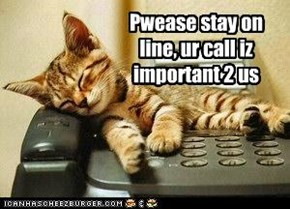 Pwease stay on line, ur call iz important 2 us