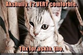 Akshully, I'z VERY comforble.    Thx for askin, tho.