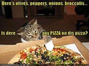 Dere's olives, peppers, onions, broccolis...  Is dere                            any PIZZA on dis pizza?