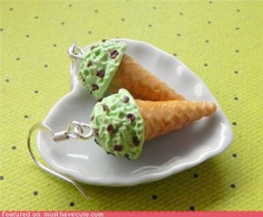 mint and chocolate ice cream cone earrings