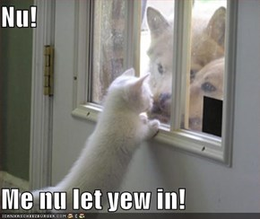 Nu!  Me nu let yew in!