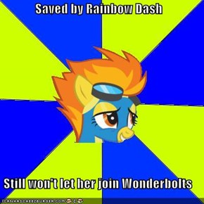 Saved by Rainbow Dash  Still won't let her join Wonderbolts