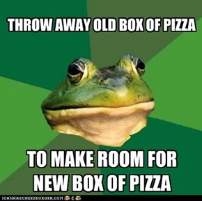 THROW AWAY OLD BOX OF PIZZA