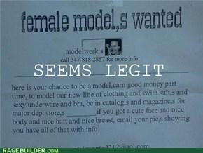 Modeling ad: seems legit