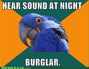 Sounds. Must be burglars.
