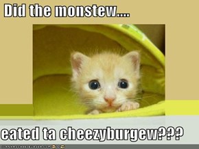 Did the monstew....  eated ta cheezyburgew???