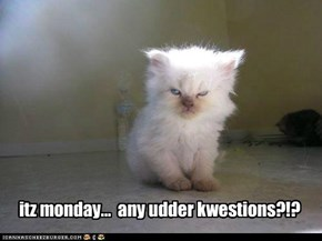 itz monday...  any udder kwestions?!?