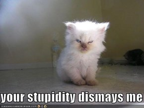 your stupidity dismays me