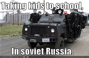 Taking kids to school,  In soviet Russia.