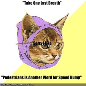 """Take One Last Breath"" Sorry I like ""Pedestrians is Another Word for Speed Bump"""
