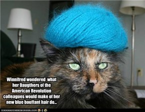 Winnifred wondered  what  her Daugthers of the American Revolution colleagues would make of her new blue bouffant hair do...