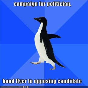 campaign for politician,  hand flyer to opposing candidate