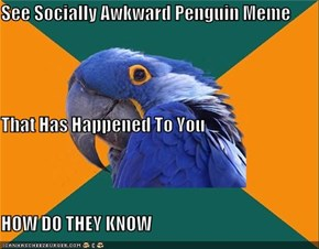 See Socially Awkward Penguin Meme  That Has Happened To You HOW DO THEY KNOW