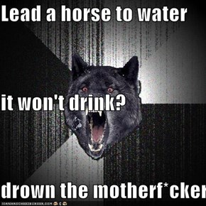 Lead a horse to water it won't drink? drown the motherf*cker