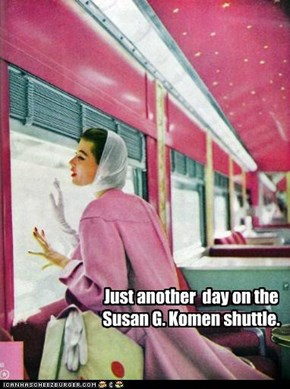 Just another  day on the Susan G. Komen shuttle.