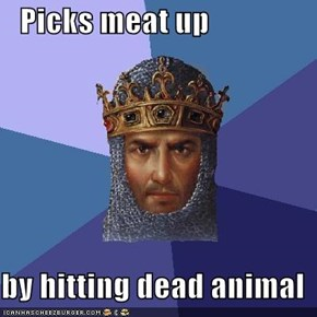 Picks meat up  by hitting dead animal