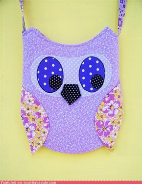 Purple Polka Dot Owl Purse