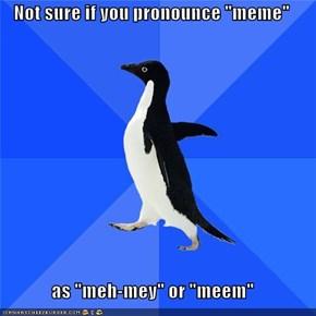 "Not sure if you pronounce ""meme""  as ""meh-mey"" or ""meem"""