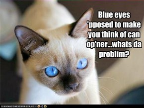 Blue eyes 'pposed to make you think of can op'ner...whats da problim?