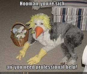 Hooman, you're sick  an' you need professional help!