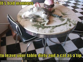 It's bad manners  to leave your table dirty and a cat as a tip