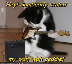 Hey! Sumbuddy stoled   my wah-wah peddle!