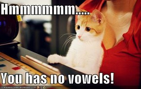 Hmmmmmm.....  You has no vowels!