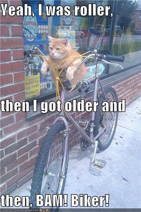 Yeah, I was roller,  then I got older and  then, BAM! Biker!