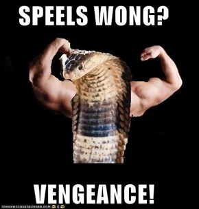 SPEELS WONG?  VENGEANCE!