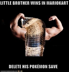 LITTLE BROTHER WINS IN MARIOKART  DELETE HIS POKÉMON SAVE