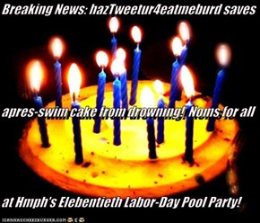 Breaking News: hazTweetur4eatmeburd saves apres-swim cake from drowning!  Noms for all at Hmph's Elebentieth Labor-Day Pool Party!