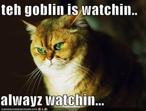 teh goblin is watchin..  alwayz watchin...