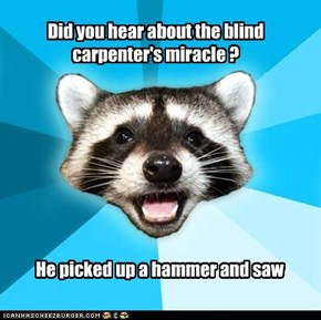 Did you hear about the blind carpenter's miracle ?