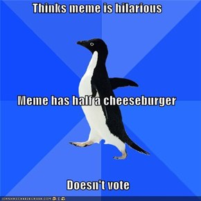 Thinks meme is hilarious Meme has half a cheeseburger Doesn't vote