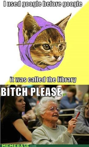 Hipster Kitty vs. Senior Freshman