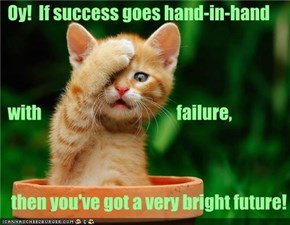 Oy!  If success goes hand-in-hand   with                                        failure,     then you've got a very bright future!
