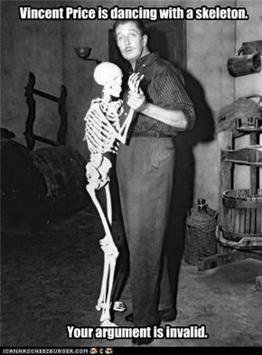 Vincent Price is dancing with a skeleton.