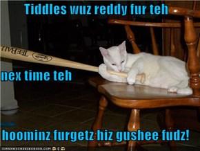 Tiddles wuz reddy fur teh nex time teh   hoominz furgetz hiz gushee fudz!