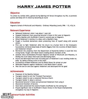 Harry Potter Resume