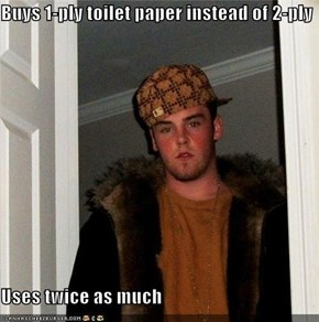 Buys 1-ply toilet paper instead of 2-ply  Uses twice as much