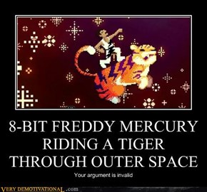 8-BIT FREDDY MERCURY RIDING A TIGER THROUGH OUTER SPACE