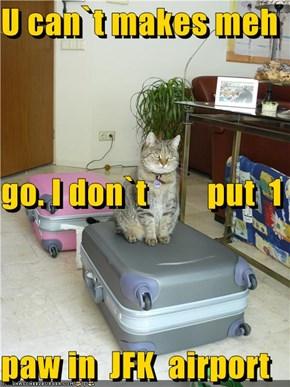 U can`t makes meh  go. I don`t         put  1 paw in  JFK  airport