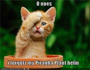 O noes  i forgotz my Piranha Plant helm