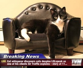 Breaking News - Cat whisperer discovers cats despise LOLspeak as one of his clients Sir Truffle explains - story at 11...
