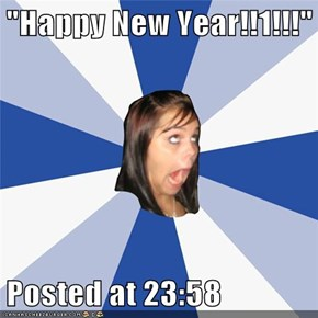 """Happy New Year!!1!!!""  Posted at 23:58"