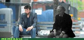 The Doctor sitting with Sad Keanu