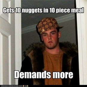 Scumbag Steve wastes all the barbeque sauce with 1 nugget