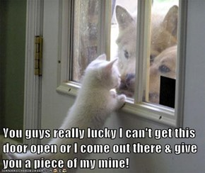 You guys really lucky I can't get this door open or I come out there & give you a piece of my mine!