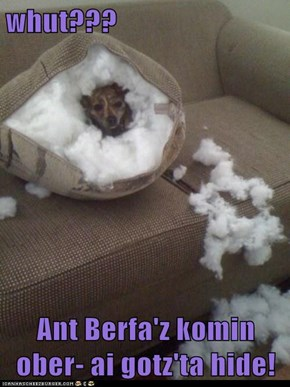 whut???  Ant Berfa'z komin ober- ai gotz'ta hide!